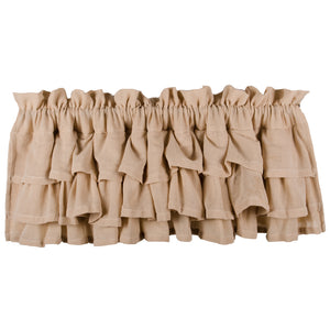 "Heirloom Ruffled Cream 72"" x 15.5"" Lined Cotton Valance by Raghu"