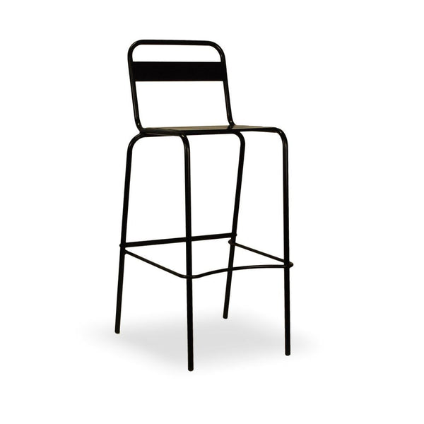 high back steel bar stool - Alegria in black
