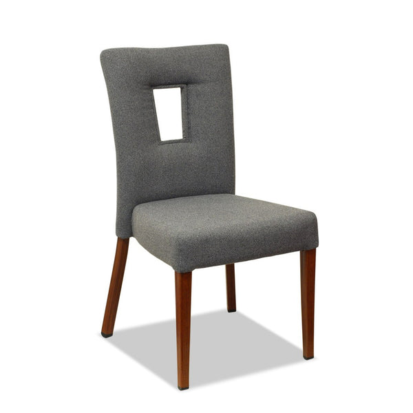Bosco Dining Chair: Aluminium Wood Look - Nufurn Commercial Furniture
