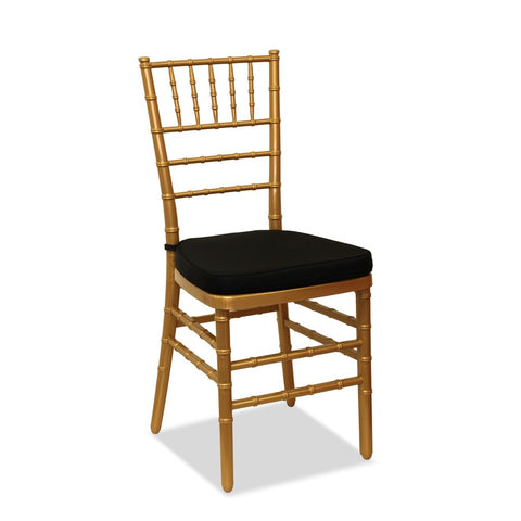 Chiavari ONE Chair – Gold Solid Square Seat - Nufurn Commercial Furniture
