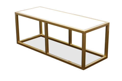 cubic coffee table - brass frame