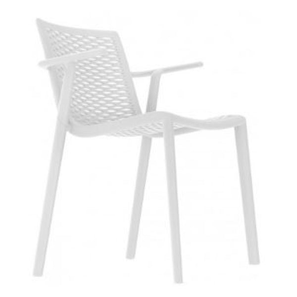 outdoor restaurant chair - netkat arm chair - resol white
