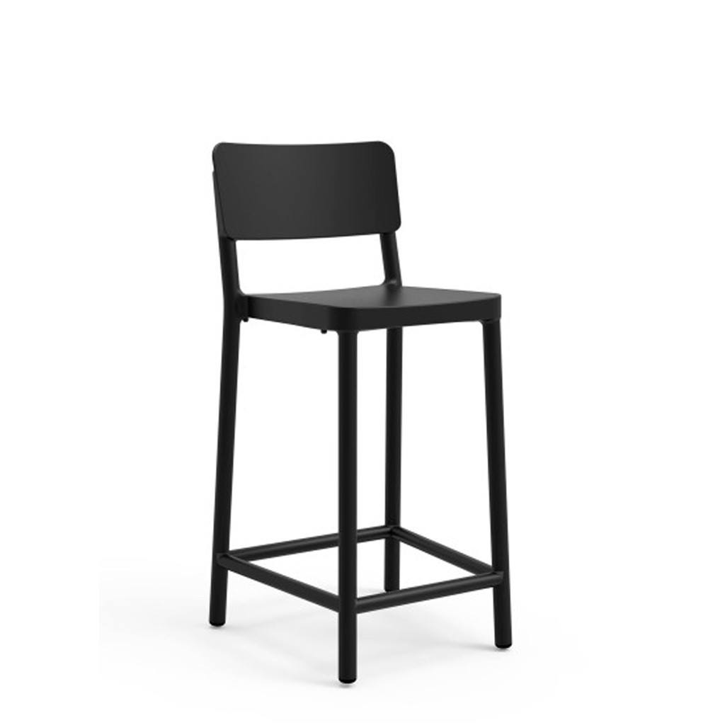 outdoor restaurant chair - medium stool - lisboa black
