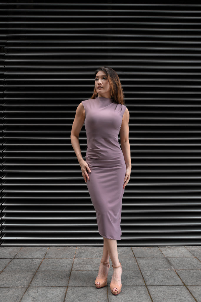 GOYA, Elle Dress in Wisteria, Workleisure Midi-Length Dress, Women Performance Workwear, Summer Workwear Singapore