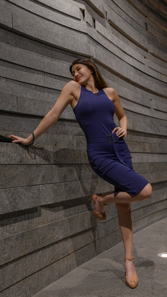 GOYA, Quin Dress in Cobalt Blue, Workleisure Midi-Length Dress, Women Performance Workwear, Summer Workwear Singapore