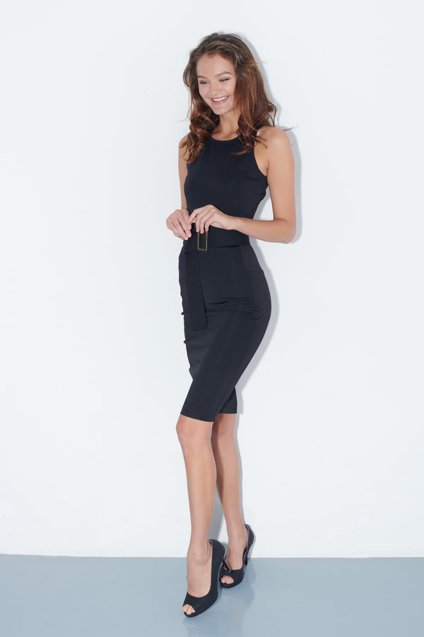 GOYA, Quin Dress in Black, Workleisure Midi-Length Dress, Women Performance Workwear, Summer Workwear Singapore
