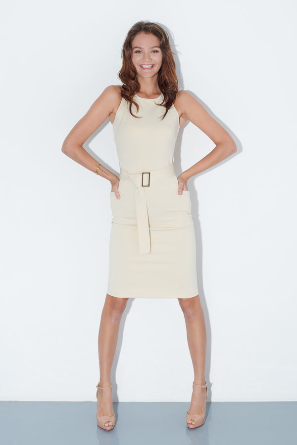 GOYA, Quin Dress in Almond, Workleisure Midi-Length Dress, Women Performance Workwear, Summer Workwear Singapore