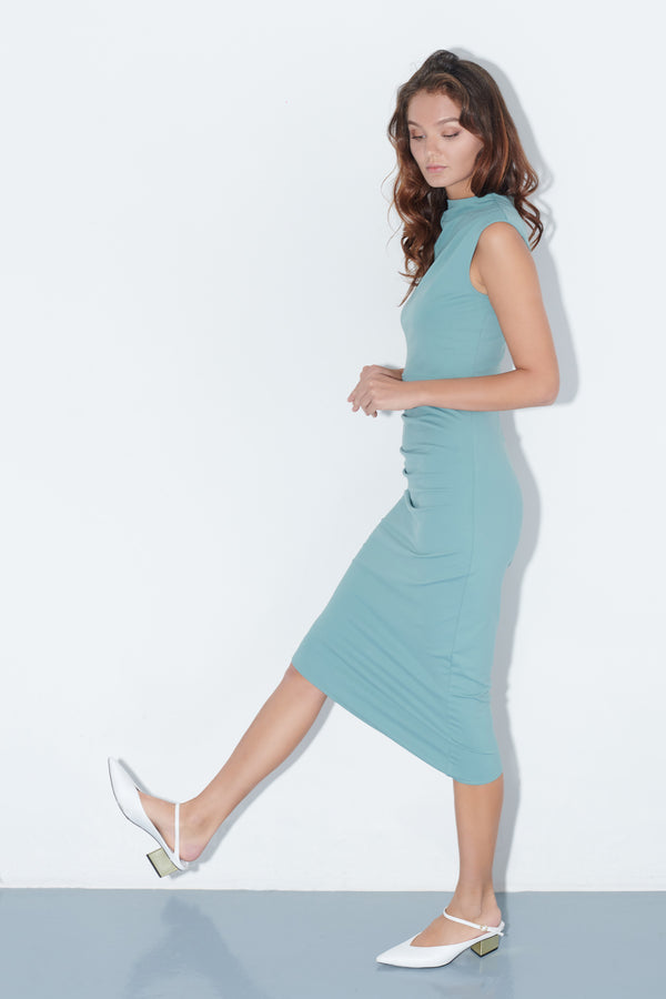 GOYA, Elle Dress in Sage, Workleisure Midi-Length Dress, Women Performance Workwear, Summer Workwear Singapore