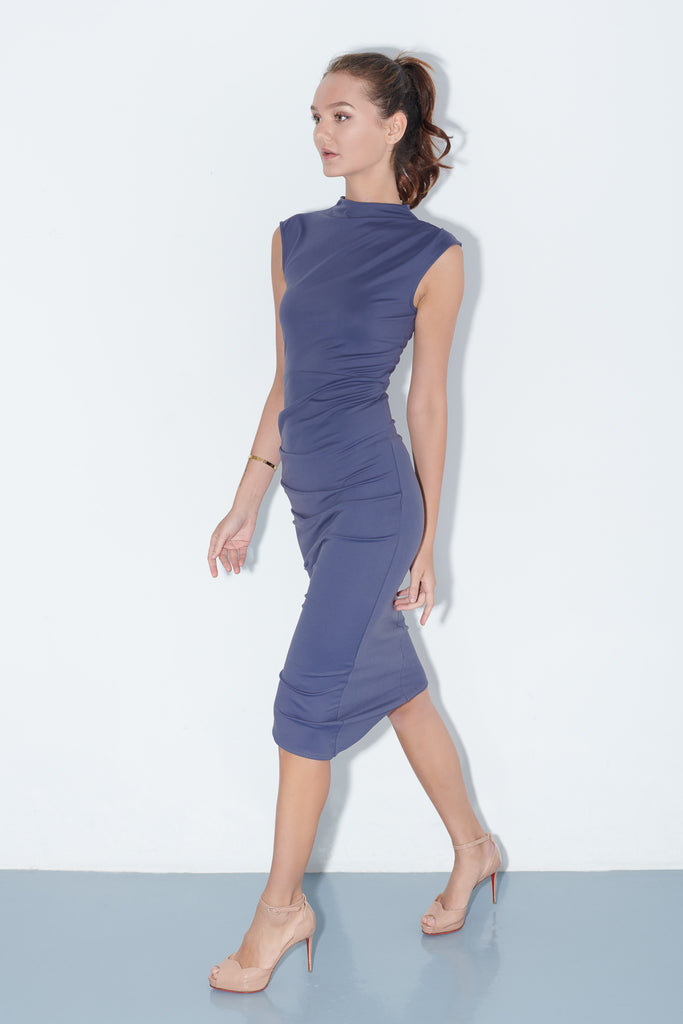 GOYA, Elle Dress in Night, Workleisure Midi-Length Dress, Women Performance Workwear, Summer Workwear Singapore
