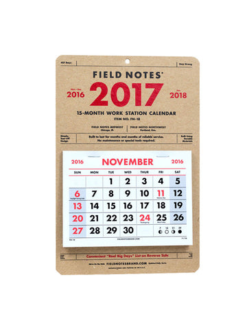 Field Notes Brand 15 Month Calendar