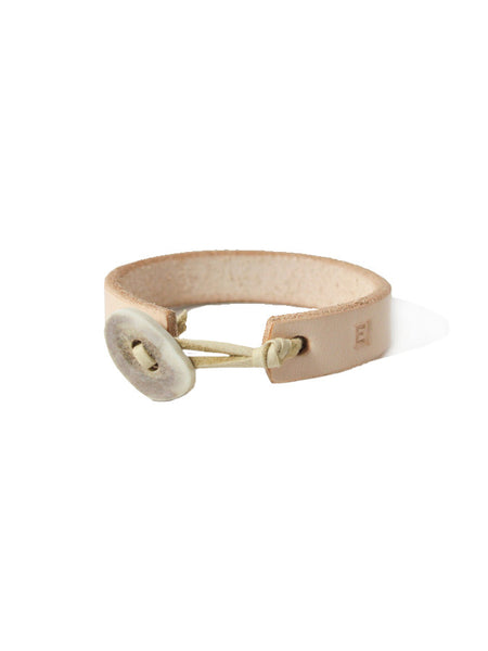 Ewing Dry Goods Deer Antler Natural Leather Cuff