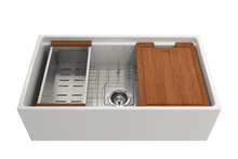 "Load image into Gallery viewer, BOCCHI CONTEMPO 33"" Step Rim Fireclay Farmhouse Single Bowl Kitchen Sink with Protective Bottom Grid and Strainer"