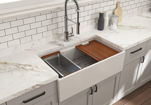 "BOCCHI CONTEMPO 33"" Step Rim Fireclay Farmhouse Single Bowl Kitchen Sink with Protective Bottom Grid and Strainer"