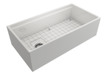 "Load image into Gallery viewer, BOCCHI CONTEMPO 36"" Step Rim Fireclay Farmhouse Single Bowl Kitchen Sink with Protective Bottom Grid and Strainer"