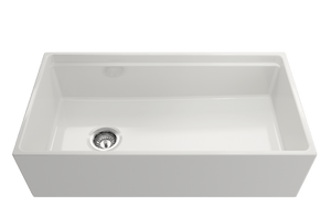 "BOCCHI CONTEMPO 36"" Step Rim Fireclay Farmhouse Single Bowl Kitchen Sink with Protective Bottom Grid and Strainer"