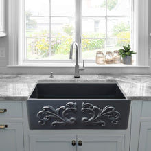 "Load image into Gallery viewer, Nantucket 33"" Fireclay Farmhouse with Filigree Apron - FCFS3320S-FiligreeMBL"