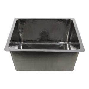 "Nantucket 23"" Hammered Stainless Steel Rectangle Kitchen/Laundry Sink - KSSH2318-12"