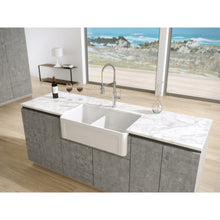 "Load image into Gallery viewer, Latoscana 33"" Reversible Fireclay Double Bowl Farmhouse Sink"