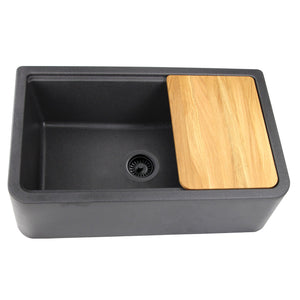 "Nantucket 33"" Reversible Workstation Granite Composite Apron Sink with Accessory Pack - PR3320-APS-BL"