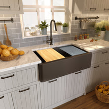 "Load image into Gallery viewer, Nantucket 33"" Reversible Workstation Granite Composite Apron Sink with Accessory Pack - PR3320-APS-BR"