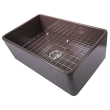 "Load image into Gallery viewer, Nantucket 30"" Coffee Brown Fireclay Farmhouse Kitchen Sink - T-FCFS30CB"