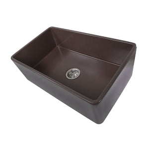 "Nantucket 30"" Coffee Brown Fireclay Farmhouse Kitchen Sink - T-FCFS30CB"