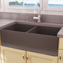 "Load image into Gallery viewer, Nantucket 33"" Double Bowl Coffee Brown Farmhouse Fireclay Kitchen Sink - T-FCFS33CB-DBL"