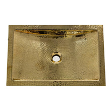 "Load image into Gallery viewer, Nantucket 19.8"" Hand Hammered Brass Rectangle Undermount Bathroom Sink with Overflow - TRB-OF"