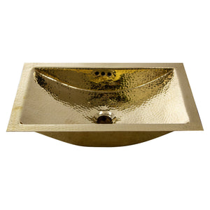"Nantucket 19.8"" Hand Hammered Brass Rectangle Undermount Bathroom Sink with Overflow - TRB-OF"