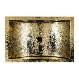 "Nantucket 23.5"" Hand Hammered Brass Rectangle Undermount Bathroom Sink with Overflow - TRB2416-OF"
