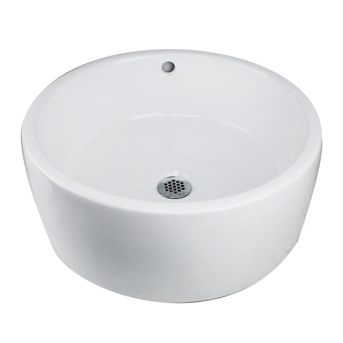 Nantucket Round  White Vessel Sink With Overflow - NSV213 - Manor House Sinks