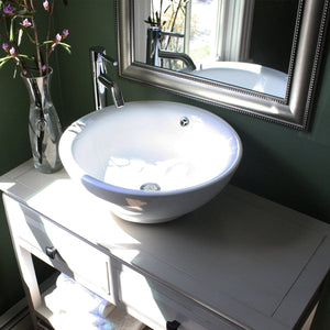 Nantucket Round  White Vessel Sink With Overflow - NSV218 - Manor House Sinks