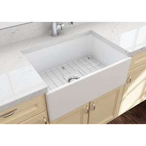 "BOCCHI CONTEMPO 27"" Fireclay Farmhouse Single Bowl Kitchen Sink with Protective Bottom Grid and Strainer, WHITE - 1356-001-0120 - Manor House Sinks"