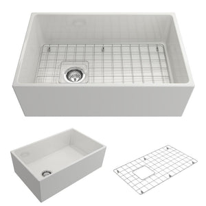 "BOCCHI CONTEMPO 30"" Fireclay Farmhouse Single Bowl Kitchen Sink with Protective Bottom Grid and Strainer, WHITE - 1346-001-0120 - Manor House Sinks"