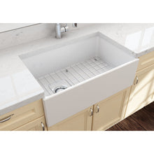 "Load image into Gallery viewer, BOCCHI CONTEMPO 30"" Fireclay Farmhouse Single Bowl Kitchen Sink with Protective Bottom Grid and Strainer, WHITE - 1346-001-0120 - Manor House Sinks"