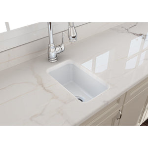 "BOCCHI SOTTO 12"" Fireclay Modern Undermount Single Bowl Bar Sink with Strainer, WHITE - 1358-001-0120 - Manor House Sinks"