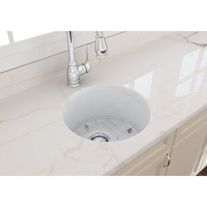 "BOCCHI SOTTO 18.5"" Fireclay Modern Undermount Single Bowl Kitchen Sink with Protective Bottom Grid and Strainer, WHITE - 1361-001-0120 - Manor House Sinks"