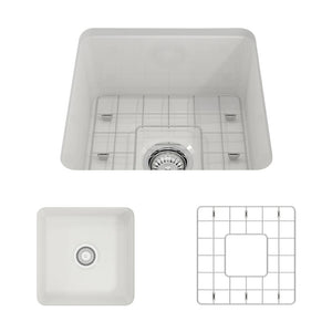 "BOCCHI SOTTO 18"" Fireclay Modern Undermount Single Bowl Kitchen Sink with Protective Bottom Grid and Strainer, WHITE - 1359-001-0120 - Manor House Sinks"