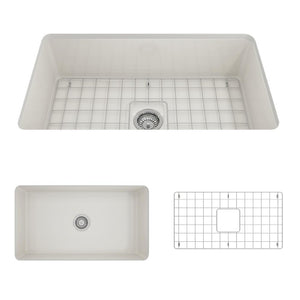 "BOCCHI SOTTO 32"" Fireclay Modern Undermount Single Bowl Kitchen Sink with Protective Bottom Grid and Strainer, WHITE - 1362-001-0120 - Manor House Sinks"