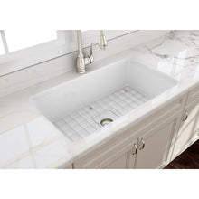 "Load image into Gallery viewer, BOCCHI SOTTO 32"" Fireclay Modern Undermount Single Bowl Kitchen Sink with Protective Bottom Grid and Strainer, WHITE - 1362-001-0120 - Manor House Sinks"