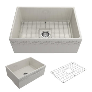 "BOCCHI VIGNETO 27"" Fireclay Farmhouse Single Bowl Kitchen Sink with Protective Bottom Grid and Strainer, WHITE - 1357-001-0120 - Manor House Sinks"