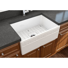 "Load image into Gallery viewer, BOCCHI VIGNETO 27"" Fireclay Farmhouse Single Bowl Kitchen Sink with Protective Bottom Grid and Strainer, WHITE - 1357-001-0120 - Manor House Sinks"