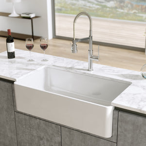 "LaToscana 30"" Fireclay Farmhouse Sink LTW3019W - Manor House Sinks"