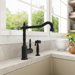 BOCCHI LESINA Kitchen Faucet With Side Spray, Polished Chrome - 2001 0001 - Manor House Sinks