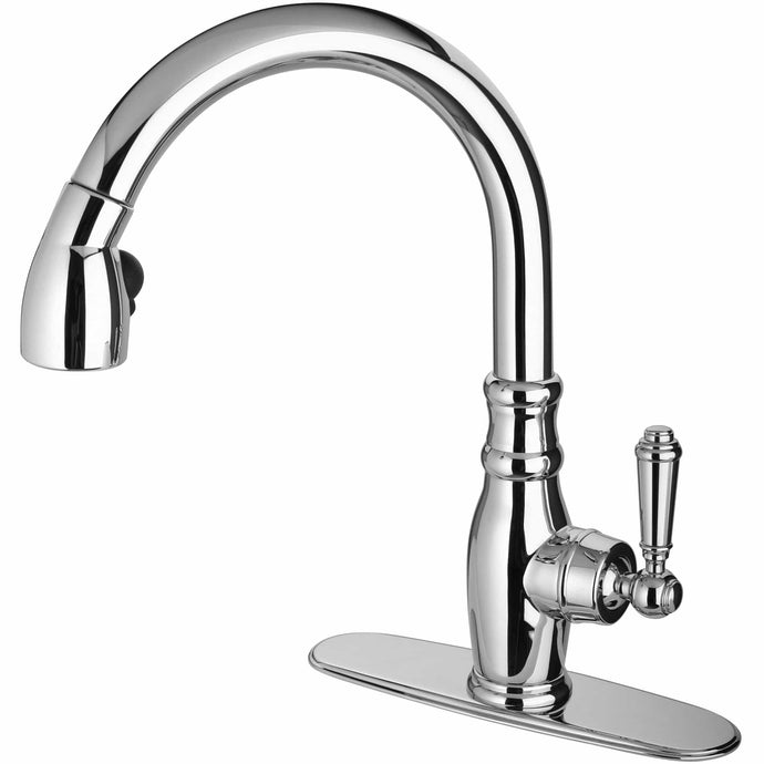 LATOSCANA Old-Fashioned Single Handle Pull-Down Spray Kitchen Faucet, Chrome - USCR591ANT - Manor House Sinks