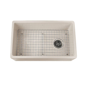 "Nantucket 30"" Bisque Fireclay Farmhouse Kitchen Sink Offset Drain with Grid - FCFS30B - Manor House Sinks"