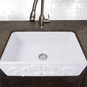 "Nantucket 30"" Farmhouse Fireclay Sink with Filigree Apron - FCFS3020S-Filigree - Manor House Sinks"