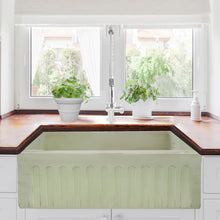 "Load image into Gallery viewer, Nantucket 30"" Farmhouse Fireclay Sink with Shabby Green Finish - FCFS3020S-ShabbyGreen - Manor House Sinks"