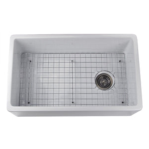 "Nantucket  30"" White Fireclay Farmhouse Sink Offset Drain with Grid - FCFS30 - Manor House Sinks"