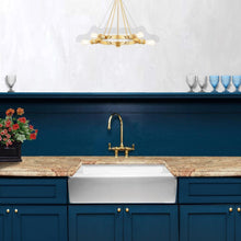 "Load image into Gallery viewer, Nantucket  30"" White Fireclay Farmhouse Sink Offset Drain with Grid - FCFS30 - Manor House Sinks"